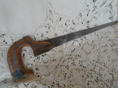 Antique Wood Handled Metal Blade Hand Saw Farm Tool Country Western Wall Decor