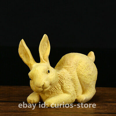 "2.4"" Chinese Exquisite Box-wood Hand-carved Zodiac Lovable Animal Rabbit Statue"