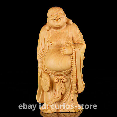 "4.7"" Chinese Box-wood Hand-carved Buddhism Maitreya Buddha Hold Fan Small Statue"