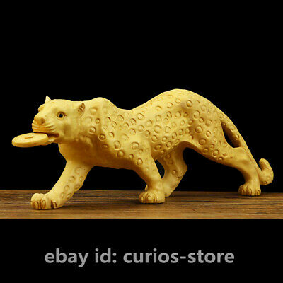 """7.9"""" Chinese Box-wood Hand-carved Wild Animal Leopard Panther Wealth Coin Statue"""