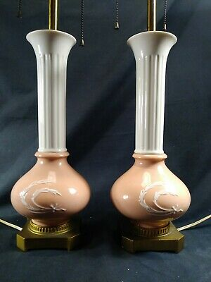 PAIR OF ANTIQUE LENOX SALMON AND CREAM Ivory TABLE LAMPS Wheat-Flowers
