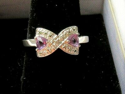 New Vintage Amethyst Diamond Sterling Silver Ring Size 7 Best! NR