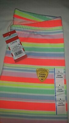 NWT Cat & Jack Girls' Multi Colored Stripe Capri Leggings Pants L (10-12)