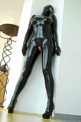 Latex Rubber Gummi Catsuit Kostüm Ganzanzug Uniform Zentai Maske uniform Suit