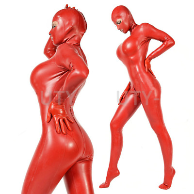 Latex Rubber Gummi Catsuit Kostüm Ganzanzug Uniform Zentai Red uniform Suit