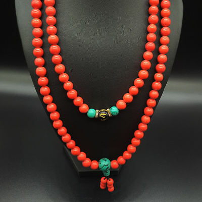 Exquisite Collectibles Chinese Handwork Red Coral Bead Necklace a2012