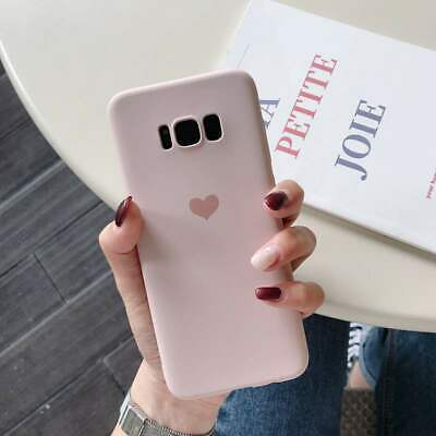 For Samsung Galaxy S7 S10 S9 Plus Matte Cute Heart Soft Rubber Slim Case Cover