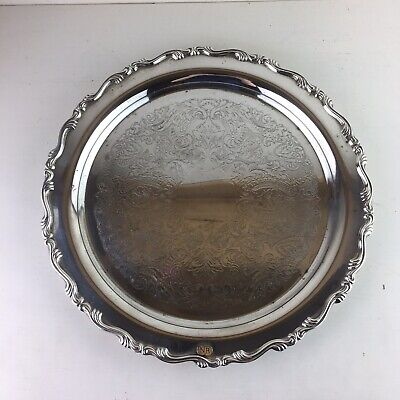 """Vintage Silver Plated Tray Drinks Cocktails 12"""" By Oneida"""