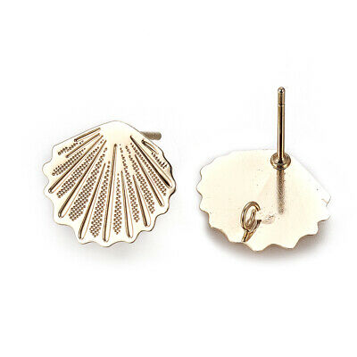 20 Brass Scallop Shell Earring Posts Gold Plated Stud Back Loop Nickel Free 13mm