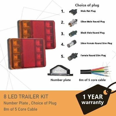 8 LEDs TRAILER LIGHTS KIT,1 x Trailer Plug, 8M 5 CORE CABLE, 1x No. Plate 12V