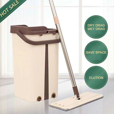 Flat Squeeze Mop And Bucket Wringing Floor Cleaning Microfiber Mops 2019