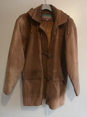 Ladies Tan Leather Jacket With Hood Size 12
