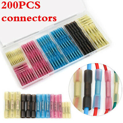 200Pcs Heat Shrink Butt Wire Crimp Connectors Insulated Waterproof Terminals Hot