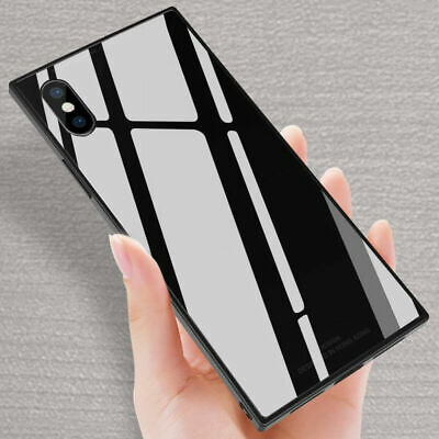 For iPhone XS MAX XR X Luxury Fashion Square Tempered Glass Phone Case Cover