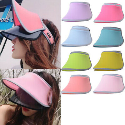 Summer Plastic Tinted Visor Sun Hat Clear Tennis Beach Protection Snapback Cap