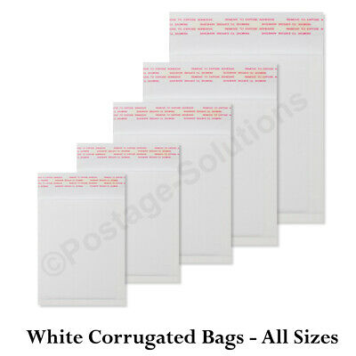 WHITE Corrugated Padded Mailing Bags 100% Recyclable Biodegradable Eco Envelopes