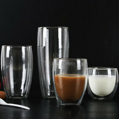 350ML Heat Resistant Double Wall-Transparent Cappuccino Glass Mug Coffee Tea qwe