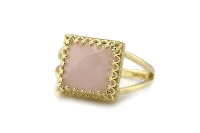Anemone Jewelry Attractive Rose Quartz Ring in 14k Gold Over Silver Double Band