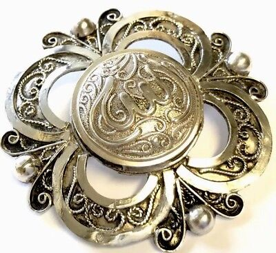 Vintage Large Ornate Islamic Hallmarked Silver Brooch GIFT BOXED