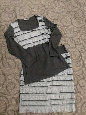 Dress 4 Two Size 12 Top & Skirt Black With Grey Ruffles