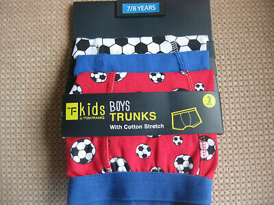 Pack of 3,Boys cottonTrunks/Boxers Underwear,Football designs, 5/6 7/8 9/1011/12