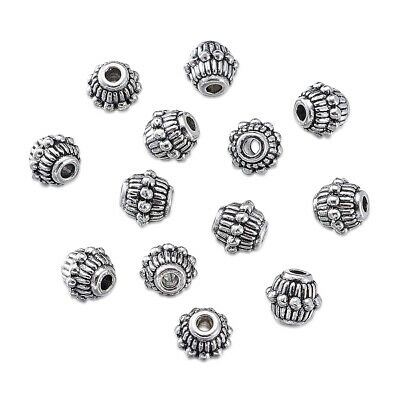 1000 Tibetan Alloy Corrugated Metal Beads Antique Silver Tiny Loose Spacers 6mm