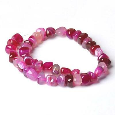 Banded Agate Smooth Nugget Beads 9x13mm Fuchsia 30+ Pcs Handcut Gemstones Crafts