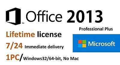 Microsoft Office Professional Plus 2013  Lifetime License Key 32/64bit/1PC
