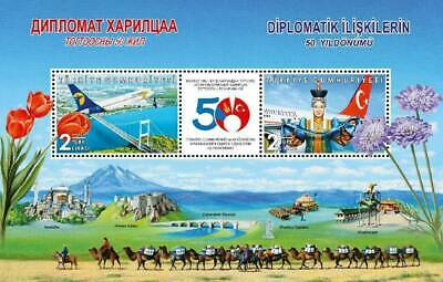 TURKEY/2019-50th Year of Diplomatic Rel. Mongolia (Aviation, Tulip, Flower), MNH