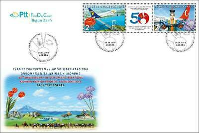 TURKEY/2019-(FDC) 50th Year of Diplom. Rel. Mongolia (Aviation,Tulip,Flower),MNH