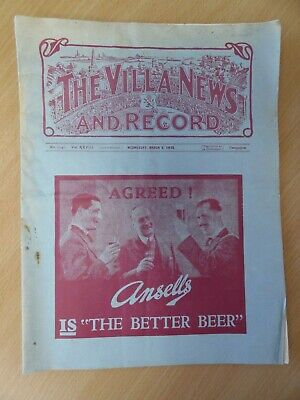 ASTON VILLA vs NOTTINGHAM FOREST | PRE-WAR PROGRAMME | 1937/38 | DIVISION 2