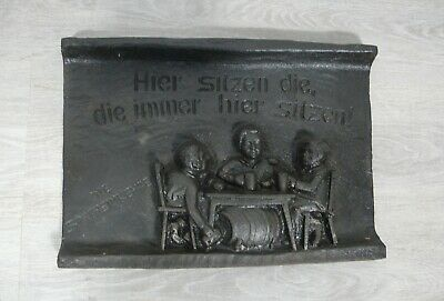 Fine Antique Cast Iron Fireplace Back Plate 3 Late Homecomers from war, Germany