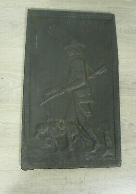 Fine Antique Cast Iron Fireplace Back Plate a Hunter and his dog, Germany