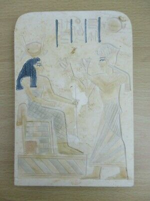 Ancient Egyptian Replica Stele, Goddess Isis, Heavy Carved Wall Plaque Tablet