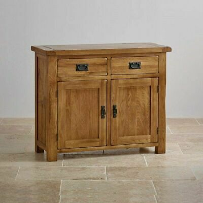Handmade Oak Sideboard / Solid Wood Small 2 Door 2 Drawer Storage Cupboard New