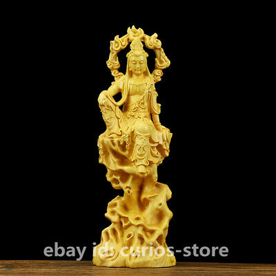 "7.1"" Chinese Box-wood Hand-carved Flammule Kwan-yin Goddess Guan Yin Statue 自在观音"