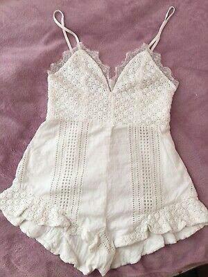 Girls Summer White Jumpsuit All-in-one - Size-s Vgc