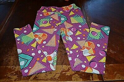 LuLaRoe multi-color leggings girl's sz L/XL (10/12)