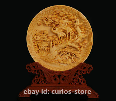 """5.7""""Chinese Exquisite Box-wood Hand-carved Pine Tree Crane Ornament Plate '松鹤延年'"""