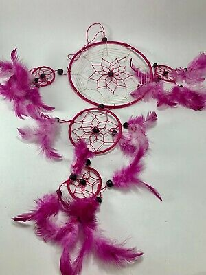 Girls Dream Catcher  Pink Feathered Girls Room  Good Dreams  Feathers & Beads