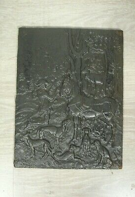 Fine Antique Cast Iron Fireplace Back Plate Hunting Scene, from Germany