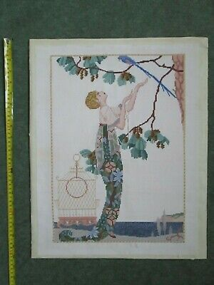 Fabulous Completed Cross Stitch + Bead Picture - Art Deco Lady + Bird