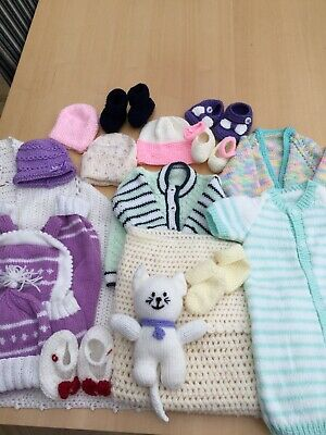 Bundle Of 17 Hand Knitted Baby Items JOB LOT Table -Boot Sale Varied Sizes NEW