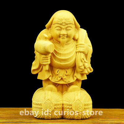 Tibet Tibetan Buddhism Box-wood HandCarved Mahakala Wrathful Deity Buddha Statue