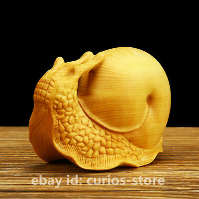 7.5CM Fine Chinese Box-wood Hand-carved Animal Snail WoNiu Originality Statue 蜗牛