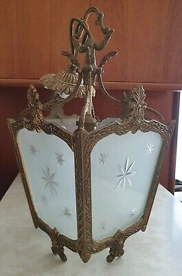 Antique Vintage French Gilt Brass Light / Ceiling Lantern - Gold Glass Rococo