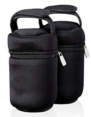 Tommee Tippee Closer to Nature 2 x Insulated Bottle Bags Black Hot & Cold