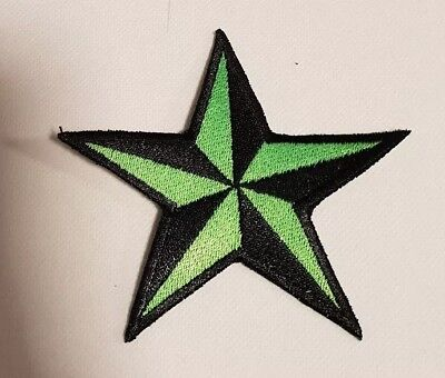 Stern Schwarz grün Rockabilly Tattoo Aufnäher Punk Patch Nautic Star old school