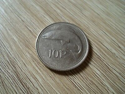 1980 IRISH EIRE Ireland 10p Ten Pence Coin, harp & salmon double die