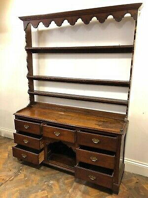 Antique Welsh Oak Dresser with Open Back Plate Rack - Delivery Available